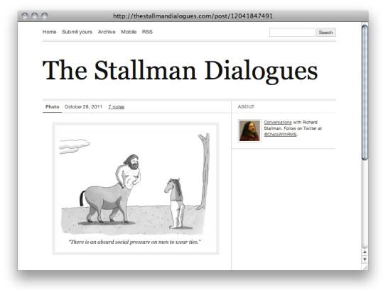 A screen capture of the site http://thestallmandialogues.com